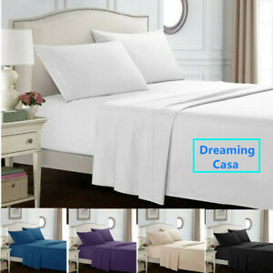 Hotel-Luxury-1800-Count-4P-Bed-Sheet-Set-Deep-Pocket-Wrinkle-Free-Fitted-Flat-H9