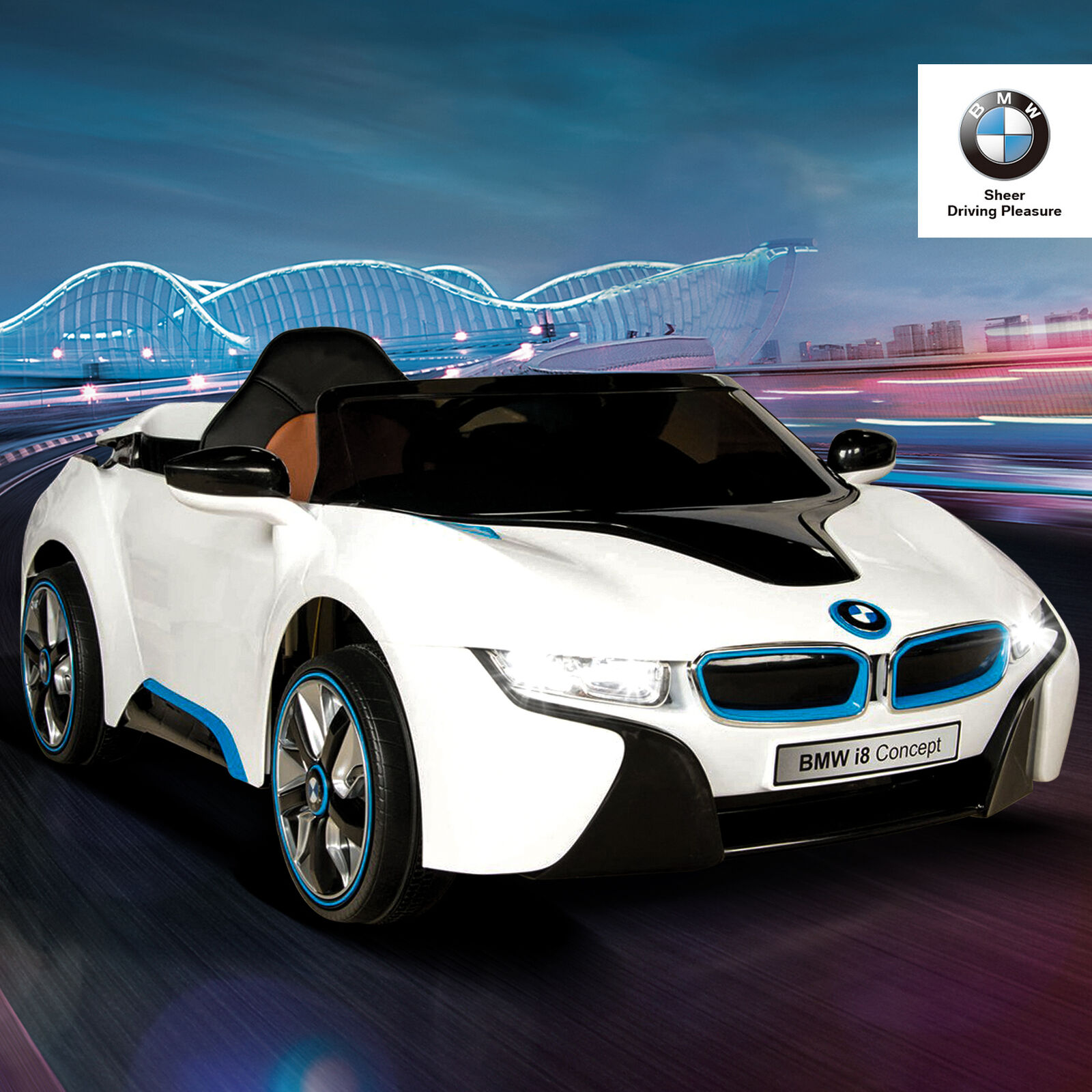 12V BMW I8 Power Electric Battery Kids Ride on Car 4 Speed w  RC MP3 FM White
