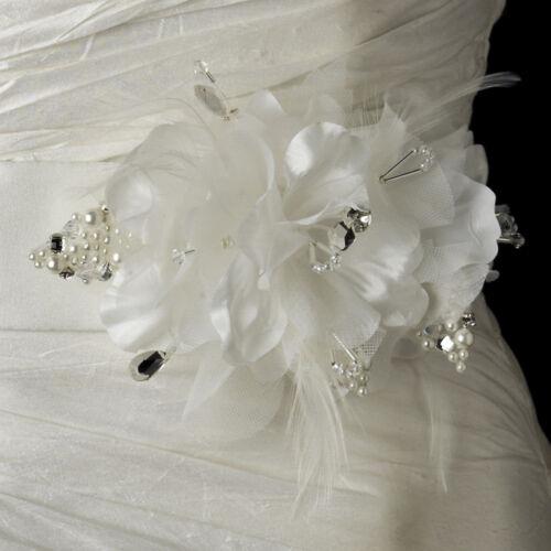 White or Ivory Silver Flower Crystal /& Pearl Satin Silk Bridal Sash Wedding Belt