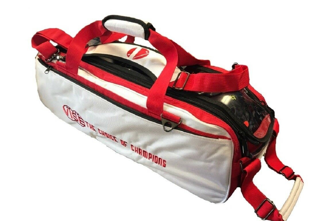 Vise 3 Ball Tote Bowling Bag with tow wheels color White Red