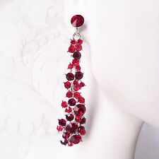 Red Crystal Earrings Art Deco Costume Crystal Prom Jewelry Valentines Day Gift