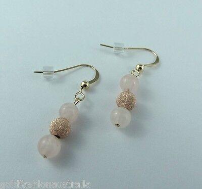 Sparkling Pink Rose Quartz Gold Earrings Handmade