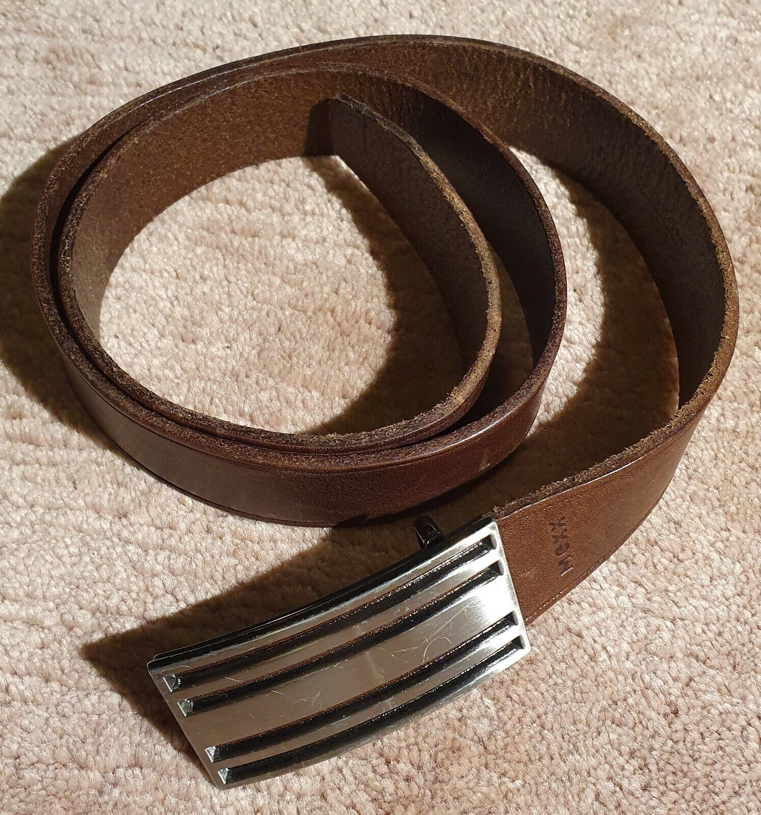 Herren Ledergürtel braun MEXX 3,5 cm breit 108 cm lang Echt Leder Gürtel