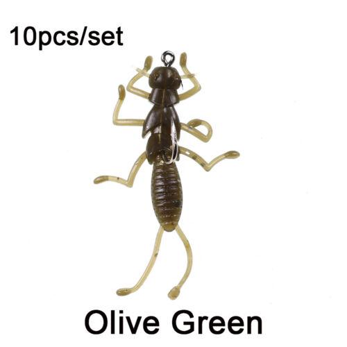 Hard Crank Swim Luminous Bionic Bait Larva Insects Fishing Lure Crankbait