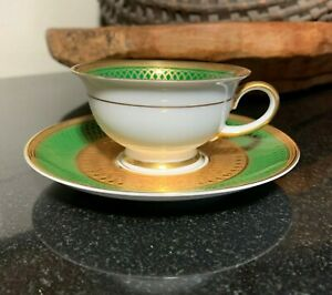 Rosenthal-Aida-Principessa-Emerald-Green-w-Gold-Demitasse-Cup-amp-Saucer-3032