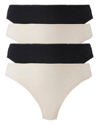 4 x High Leg Briefs Knickers Pants Black /& Blush ~ Plus Size 28//30 ~ New
