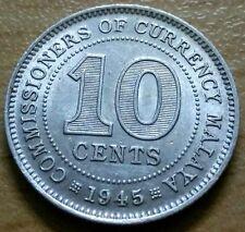 1945 Malaya 10 cents silver coin KEY DATE High Grade AU #F31