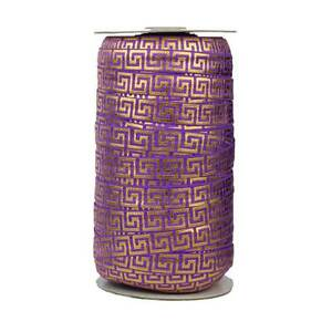 100 Yard Spool -Fold Over Elastic - Purple with Gold Metallic Maze - 5/8in Wide