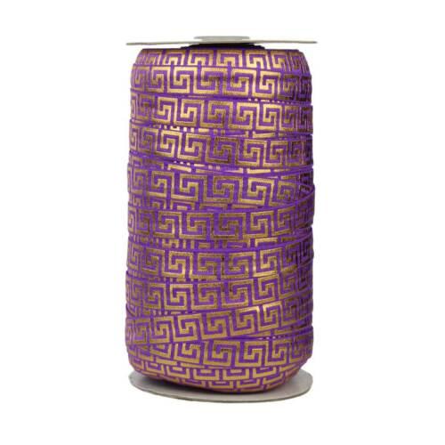 Fold Over Elastic 100 Yard Spool Purple with Gold Metallic Maze 5//8in Wide