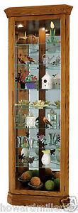 Howard Miller 680-485 Dominic - Small Oak Corner Curio Display Cabinet