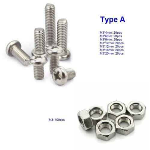 M3 A2 Pan Flat Truss Head Phillips Machine Screws Hex Nuts Assortment Kit 240pcs