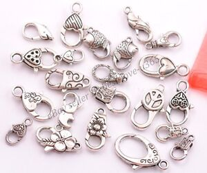 10Pcs-Tibetan-Silver-Charms-Heart-Lobster-Clasps-Hooks-22-Types-U-PICK