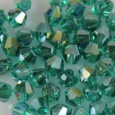 100pcs Swarovski 4mm Bicone Crystal Peacock-green AB beads C A-19#