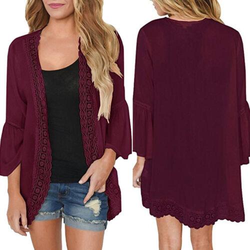 New Womens Casual Lace Long Sleeve Chiffon Cardigan Loose Kimono Blouse Tops US