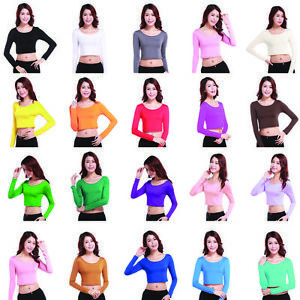 f8586017e4c399 Women Crop Tops Long Sleeve Blouse Crew Neck Ladies Short Stretch T ...