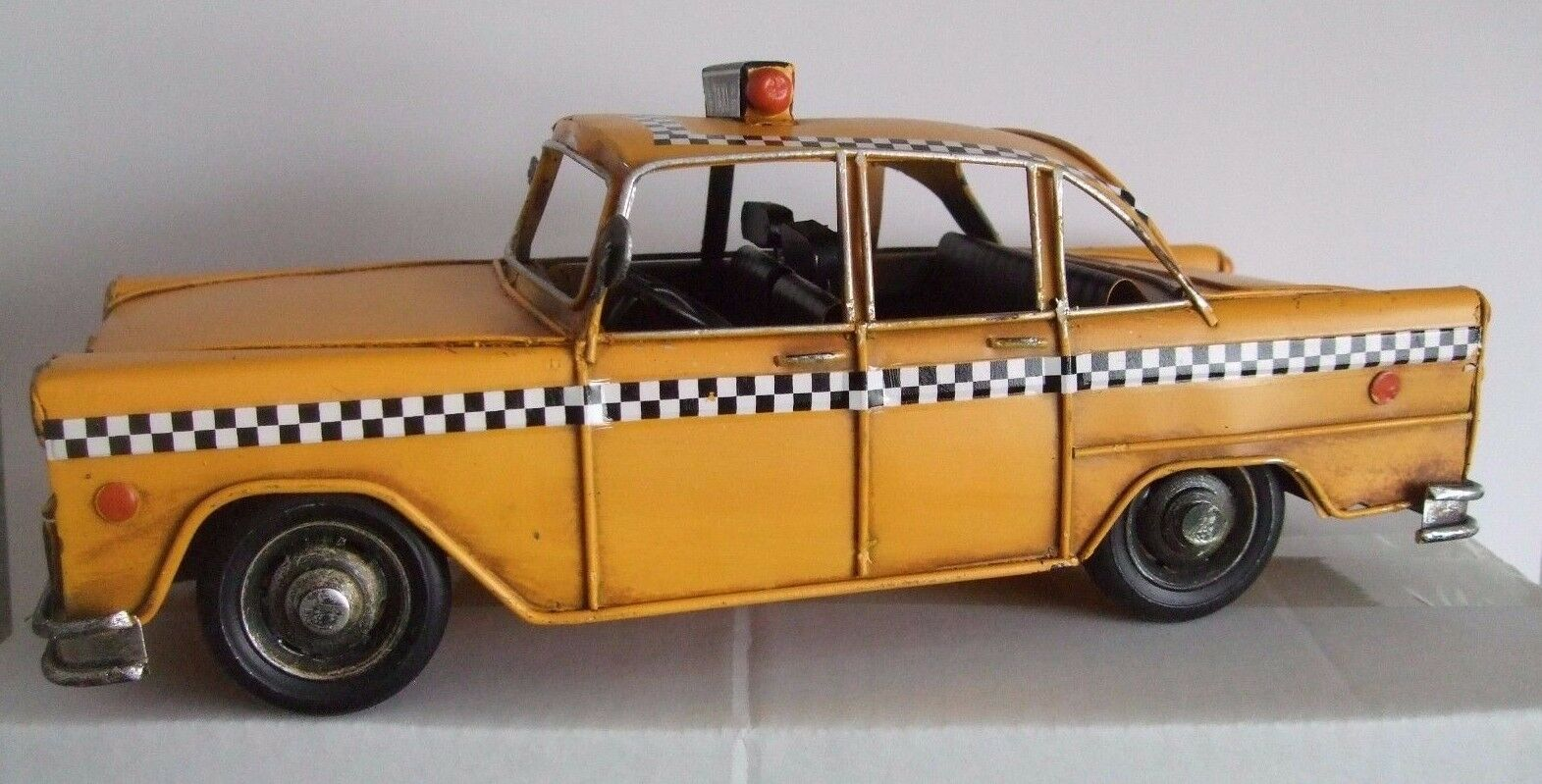 Tin Plate Model of a Yellow Taxi Cab  Hand Painted  Yellow Ornament  Gift