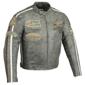 Motorrad Lederjacke im Antik Retro stil Bikerjacke Motorradjacke Chopper Jacke..