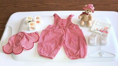 American Girl Bitty Baby 1995 Fun In The Sun Red Checked Romper Set At Play Book
