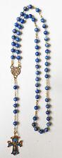 Grand chapelet avec perles de lapis lazuli + émail rosaire rosary