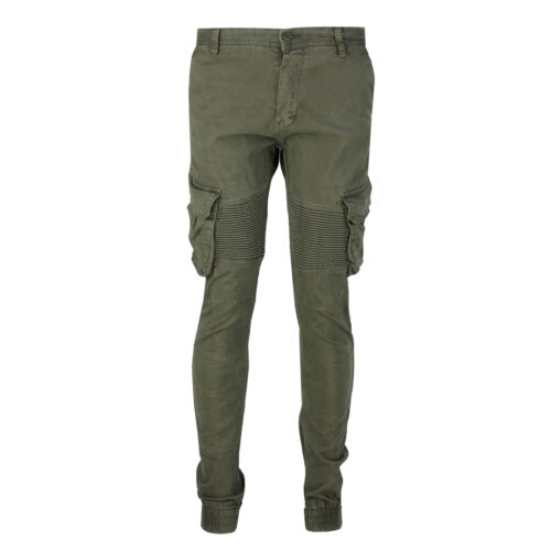 Mens Combat Trousers Cotton Stretch Cargo Chinos Quilted Knee Biker Style Pants