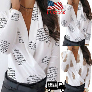 Women-V-neck-Long-Sleeve-Printed-T-shirts-Loose-Casual-Sexy-Blouse-Warp-Tops-USA