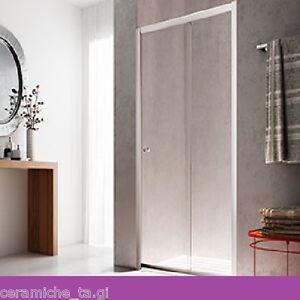 Box cabina doccia parete porta cristallo scorrevole 110 120 130 140 a nicchia ebay - Porta cabina doccia ...