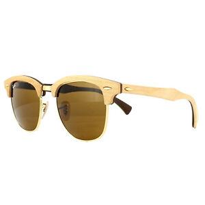 Image is loading Ray-Ban-Sunglasses-Clubmaster-Wood-3016M-1179-Maple- 31ec8e55b4
