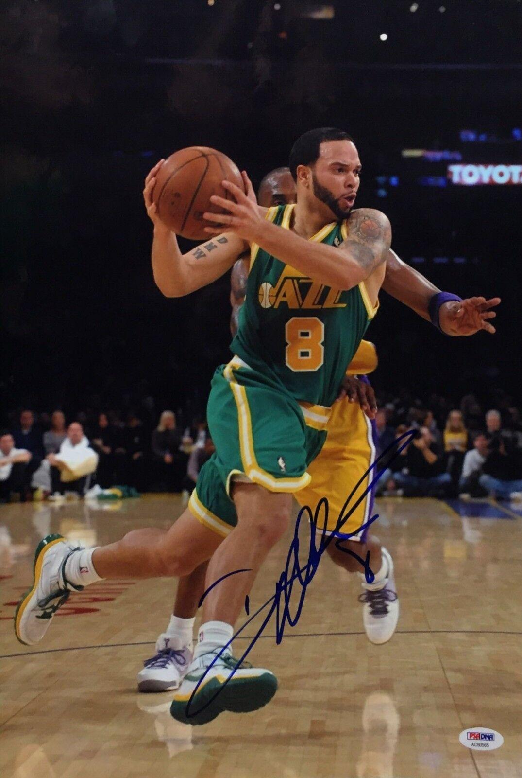 Deron Williams Signed Utah Jazz Basketball 12x18 Photo PSA AC60565