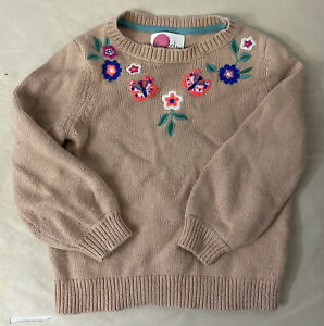 Mini Boden Floral Embroidered Sweater Brown Size 5/6Y Girls 116cm Long Sleeve