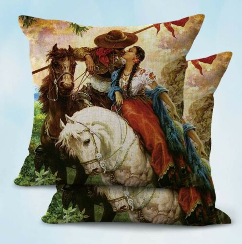 2PCS Latino Mexican artwork Jesus Helguera  pillowcase on sofa