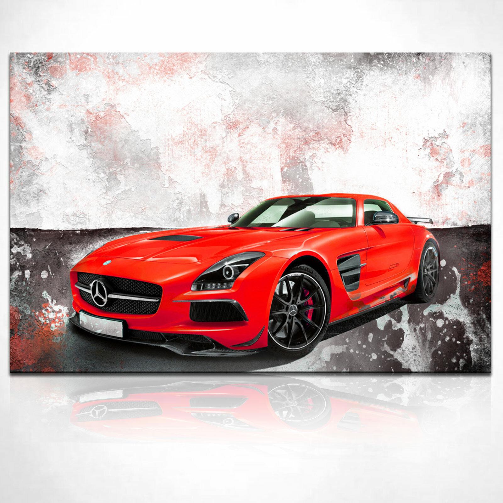 Auto Mercedes SLS AMG Sportwagen Bild Abstrakt Leinwand Bilder Wandbilder D1961