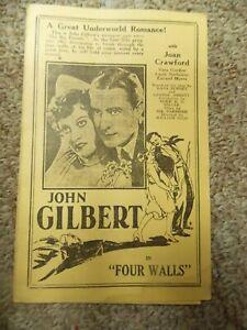 FOUR-WALLS-1928-JOHN-GILBERT-amp-JOAN-CRAWFORD-LOT-OF-THREE-ORIGINAL-HERALDS