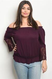 Women-039-s-Plus-Size-Plum-Off-Shoulder-Blouse-with-Lace-Accents-XL-1XL-NWT