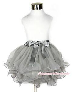 4eea7a8acb18e Baby Girl Grey Flower Petal Chiffon Pettiskirt Skirt Dress with Gray ...