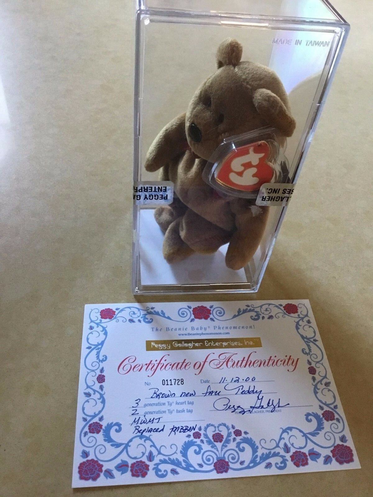 RARE -TY BEANIE BABY - NEW FACE TEDDY - PEGGY GALLAGHER - SEALED  - 3 2 GEN