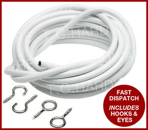 Curtain Wire Expanding Wire Cord Cable FREE Hooks & Eyes Voile Net ...