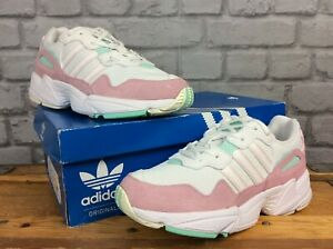 ADIDAS-UK-5-EU-38-YUNG-96-WHITE-PINK-GREEN-TRAINERS-LADIES-CHILDRENS