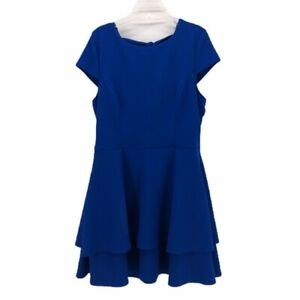 B Darlin Womens Fit Amp Flare Dress Blue Ruffled Bow Back