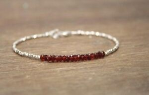 Garnet-amp-Hill-Tribe-Silver-Faceted-Gemstone-Beaded-Bracelet-925-Silver-Clasp