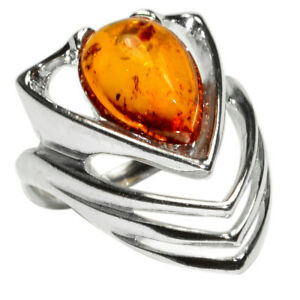 5-4g-Authentic-Baltic-Amber-925-Sterling-Silver-Ring-Jewelry-N-A7409