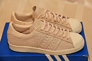 half off 30751 2187e Image is loading ADIDAS-Superstars-80s-W-Snakeskin-039-Linen-Off-