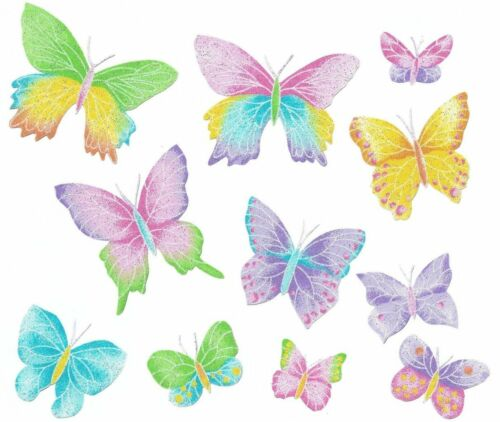 11 Patch Thermocollant Tissu Papillons Glitter Iron-on patch Butterfly