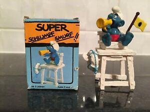 Vintage-Peyo-schleich-Lifeguard-Super-Smurf-Schtroumpf-Schlumpf