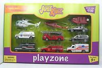 Just Kidz Playzone Set Of 10 Rescue Diecast & Plastic Vehicles - In Box