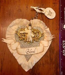 Heart-Life-Christmas-Ornament-Vintage-Rhinestone-Glitter-Crown-Angel-Loved
