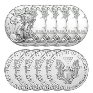 2017-US-Mint-1-American-Silver-Eagle-1-oz-Silver-Coin-Lot-of-10