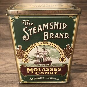 Vintage-The-Steamship-Brand-Molasses-Candy-Tin-Made-In-England-Stewart-amp-Young