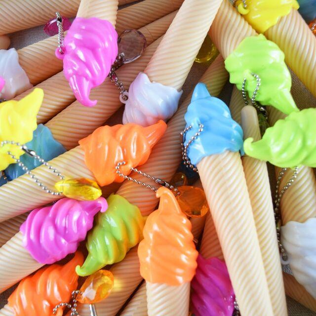 6pens/lot Cartoon cute Office accessories Ice cream ball pens cute gel pens Ink