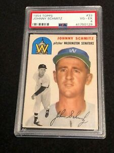 1954 Topps 33 Johnny Schmitz Baseball Card Graded Psa Bvg