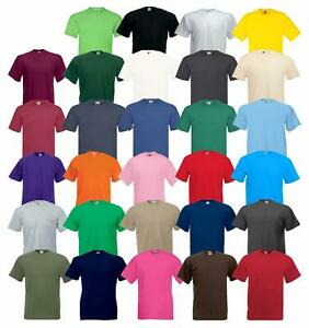 FRUIT-OF-THE-LOOM-uomo-valueweight-Plain-T-shirt-girocollo-100-COTONE